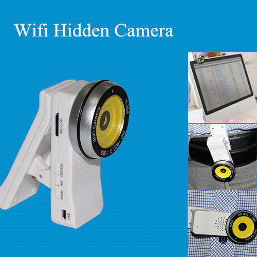 P2P H 264 Wireless WI-FI IP Hidden Fish Eye Clip Shaped Video Camera for  Android and IOS Cell Phone/Tablet